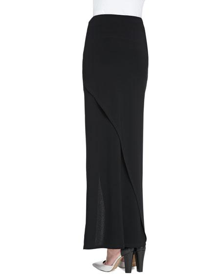 Cross-Front Jersey Maxi Skirt