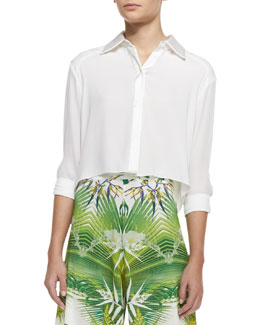 Alice + Olivia Sharon Cropped Button-Front Blouse