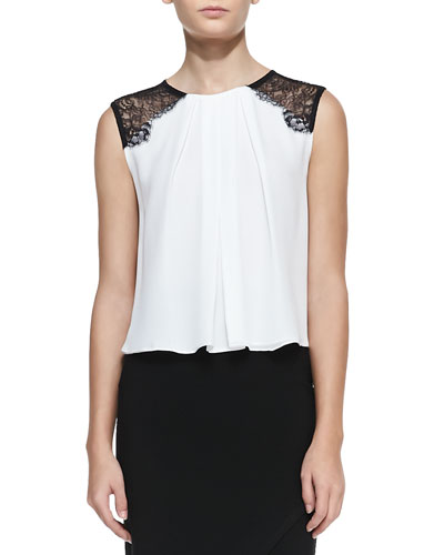 Alice + Olivia Lorretta Lace-Shoulder Sleeveless Top, White