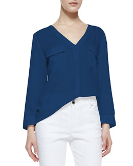 Alice + Olivia Donnie Silk-Stretch Low-Cut Button-Down Top