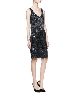 Theia Sleeveless Beaded Fringe Cocktail Dress, Navy