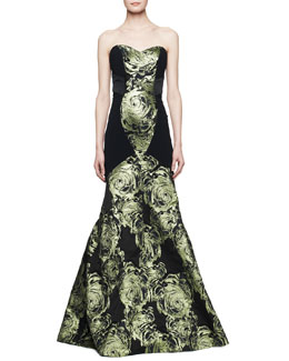 Theia by Don O'Neill Strapless Mermaid Gown with Large Rose Print, Black/Absinthe