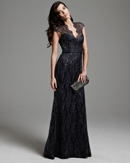 Cap-Sleeve Lace Overlay Gown, Midnight