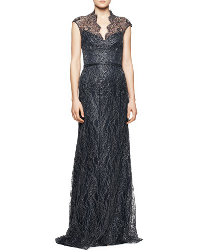 Theia Cap-Sleeve Lace Overlay Gown, Midnight