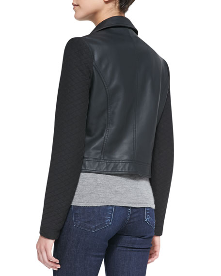 Quilted Detail Faux-Leather Jacket, Black
