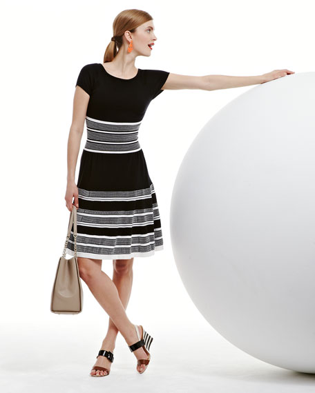 short-sleeve fit-and-flare swing dress, black/white