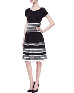 kate spade new york short-sleeve fit-and-flare swing dress, black/white