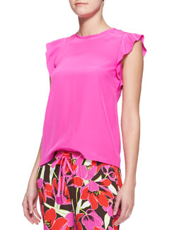 kate spade new york frilled cap-sleeve blouse, rio pink