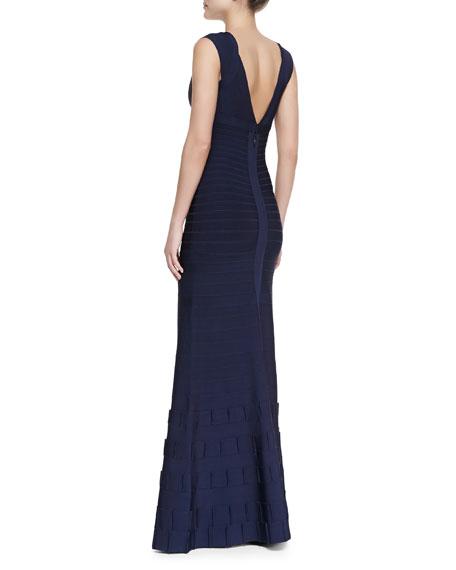 Agnes Deep-V Bandage Gown, Pacific Blue