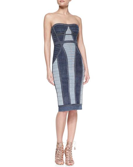 Gwyn Strapless Denim-Style Bandage Dress