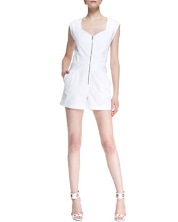 Trina Turk Finley Sweetheart-Neck Short Jumpsuit