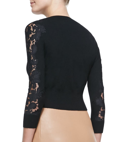 Doris Cropped Lace-Sleeve Cardigan