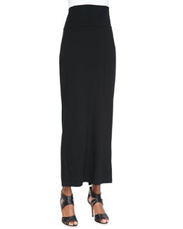 Eileen Fisher Fold-Over Maxi Skirt, Black, Women's