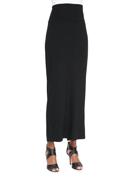 Fold-Over Maxi Skirt, Black, Women's