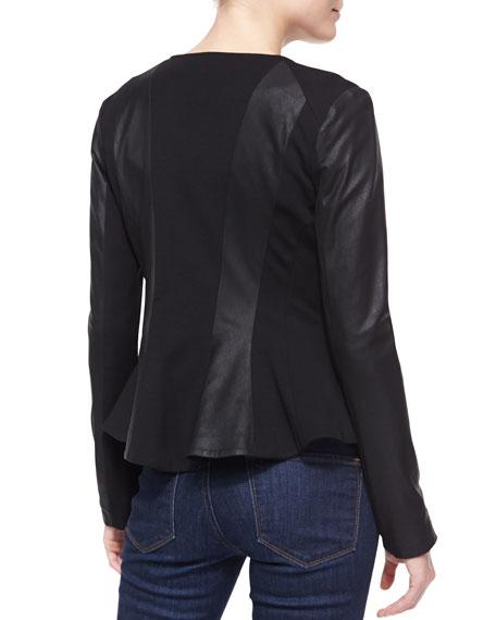 Lambskin & Ponte Peplum Moto Jacket