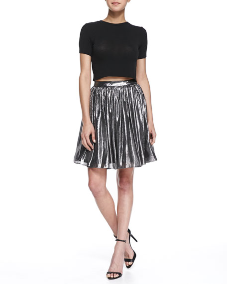 Lizzie Metallic Pleated Full Skirt, Silver