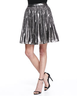 Alice + Olivia Lizzie Metallic Pleated Full Skirt, Silver