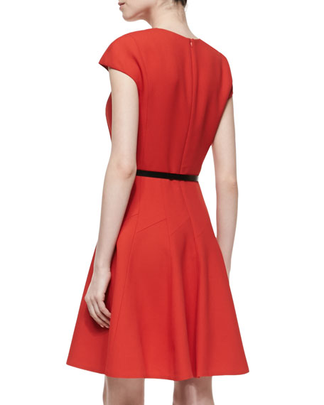 Belted Flounce Dress, Red