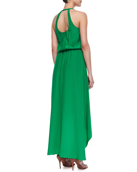 Open-Back High-Low Halter Maxi Dress, Green
