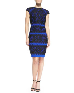 Tadashi Shoji Cap-Sleeve Tiered Lace Cocktail Dress