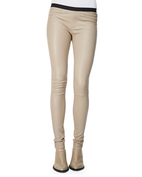 Helmut Lang Contrast-Waist Leather Leggings, Brittle