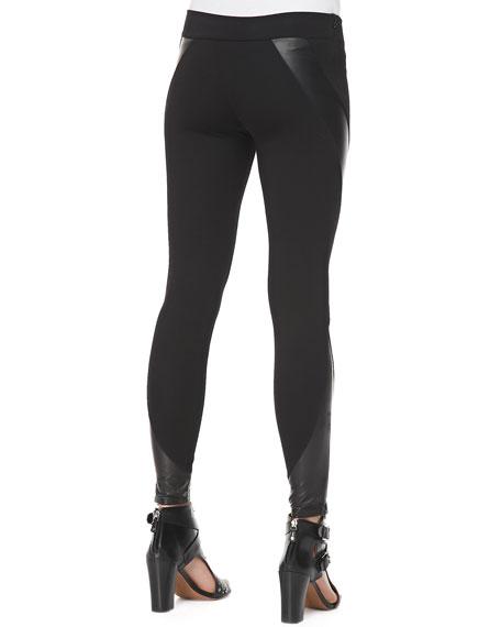 McQ Alexander McQueen Engineered Leather/Knit Swirl-Panel Leggings