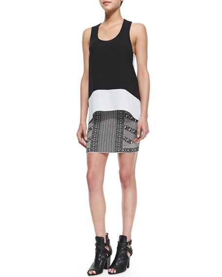 Josa Mixed Stripe Jacquard Skirt, Black Combo