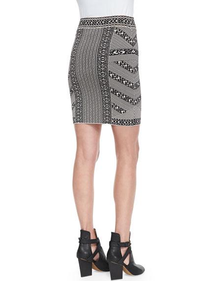 Josa Mixed Stripe Jacquard Skirt, Black Combo