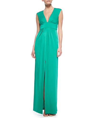 BCBGMAXAZRIA Kiera Sleeveless Gown with Center Front Slit, Tide Green