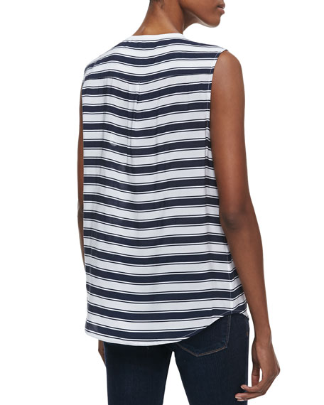 Lynn Striped Sleeveless Silk Blouse