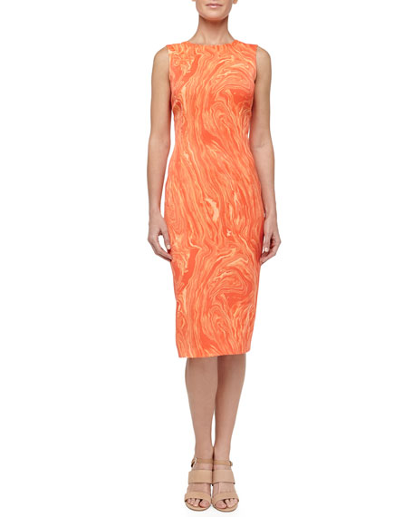 Marble Print Charmeuse Sheath Dress, Persimmon
