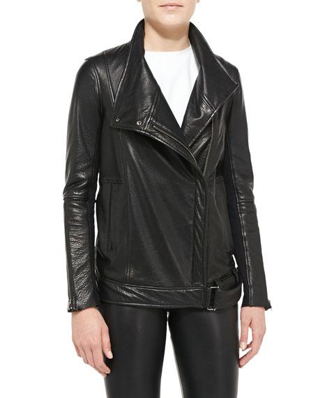 Cluster Oversized Leather Moto Jacket