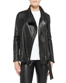 Helmut Lang Cluster Oversized Leather Moto Jacket