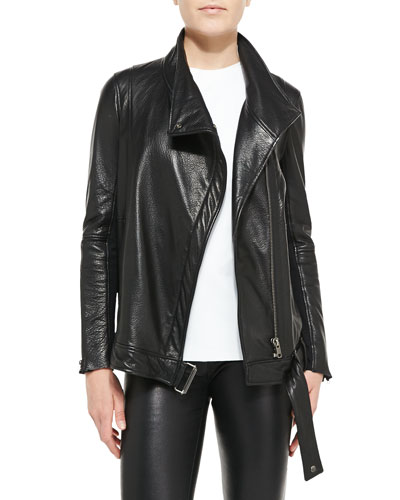 Helmut Lang Cluster Oversized Leather Moto Jacket