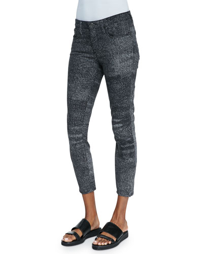 Helmut Lang Sediment Printed Cropped Denim Jeans