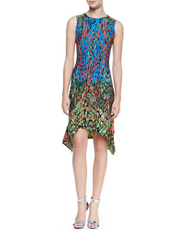 BCBGMAXAZRIA Jenica Sleeveless Handkerchief-Hem Dress, Multicolor