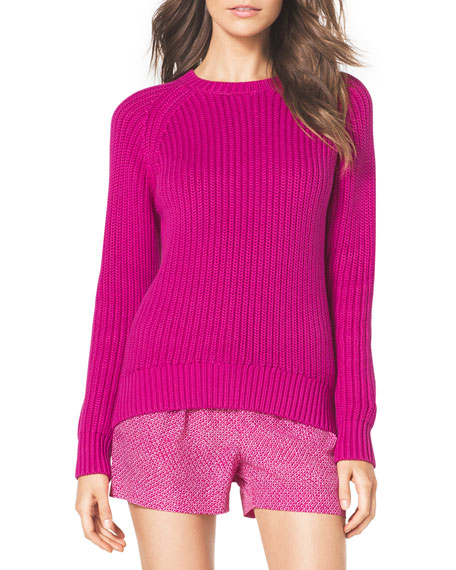 Shaker-Knit Curved Sweater