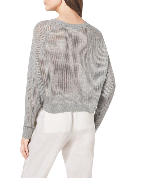 Cropped Waffle-Knit Cashmere Sweater