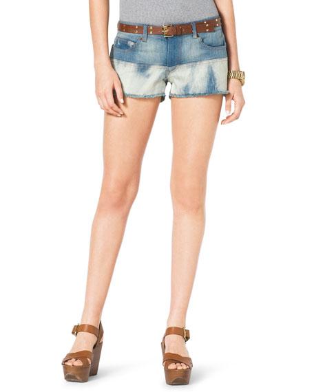 Mixed-Denim Cutoff Shorts