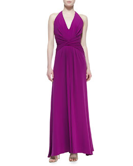 Halston Heritage Halter Jersey Gown With Twist Detail