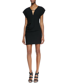 Halston Heritage Draped Jersey Keyhole-Front Dress