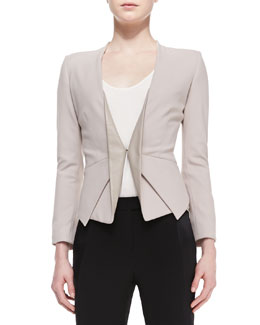 Halston Heritage Long-Sleeve Blazer w/ Leather Lapels