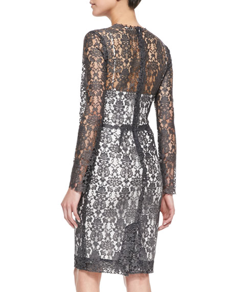Long-Sleeve Lace Dress w/Slip