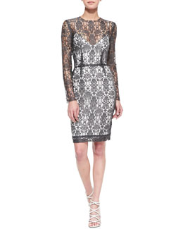 L'Agence Long-Sleeve Lace Dress w/Slip