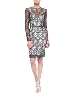 L'Agence Long-Sleeve Lace Dress w/Slip
