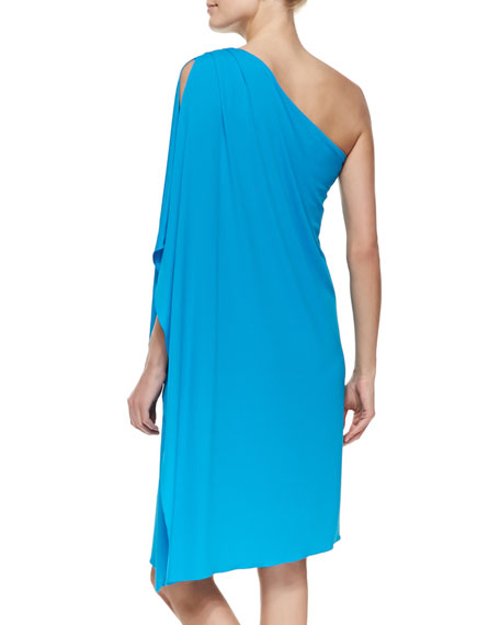 One-Shoulder Tissue Matte Jersey Dress, Pool