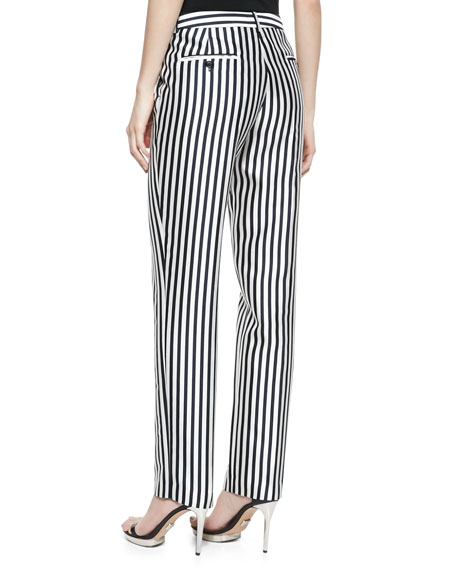 Striped Shantung Pants, Midnight/White