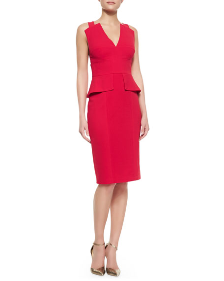 Alena Peplum Sleeveless Sheath Dress