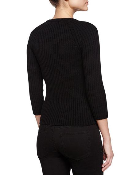 Ribbed Zipper-Sleeve Sweater, Black