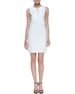 Robert Rodriguez Quorra Striped Embroidery Sleeveless Dress